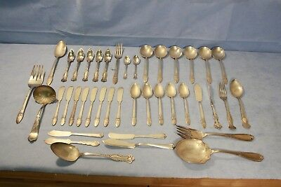 LOT - 41 pieces of Rogers Silverplate / Stainless Steel Silverware/Flatware