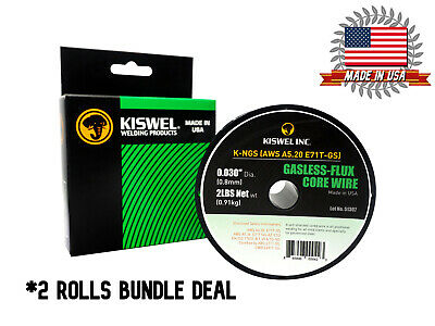 MADE in USA (2 Rolls) E71T-GS .030 in. Dia 2lb. Gasless-Flux Core Wire Welding