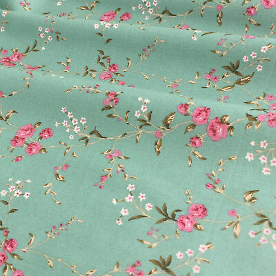 Green & pink roses floral 100% cotton fabric, ivory per FQ or half metre