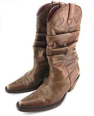 7faadf2bbb3 Steve Madden Western Cowgirl Boots Brown Distressed Soft Leather Women s  Size 7M