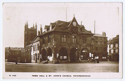 PETERBOROUGH Town Hall & St John's Church, RP Postcard by WHS Postally Used 1915