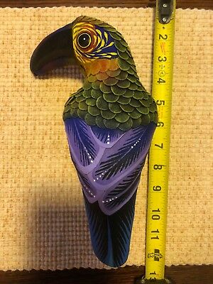 Mexican folk art hand made leather hanging tucán bird real twig perch
