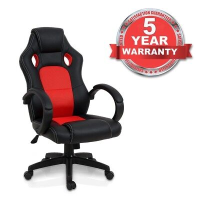 Luxury Office Gaming Racing Chair Computer Swivel Recliner Bucket Seat (RED)