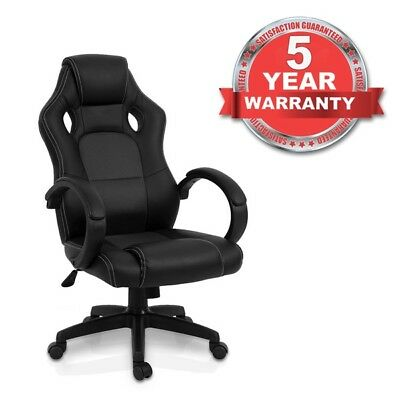 Luxury Office Gaming Racing Chair Computer Swivel Recliner Bucket Seat BLACK