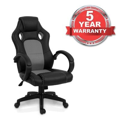 Luxury Office Gaming Racing Chair Computer Swivel Recliner Bucket Seat GREY