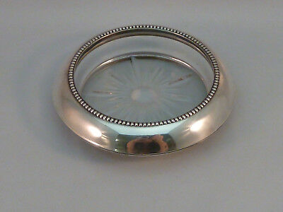 Whiting Sterling Silver & Glass Drink Coaster Antique Vintage Frank M. Whiting