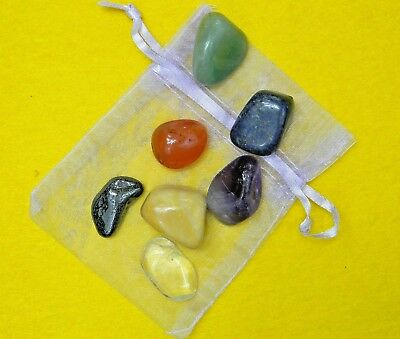 The best 7 chakra healing crystal stone + organza, healing crystal set 7 stones