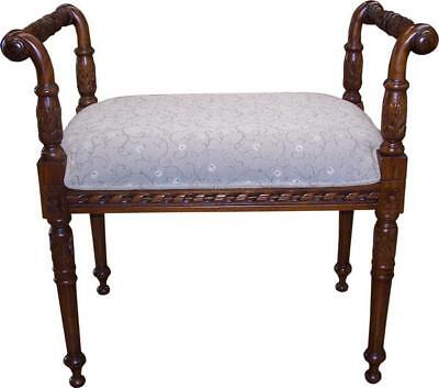 Carved Mahogany & Fabric Bedroom Dressing Table Piano Stool H56 W67 D39cm