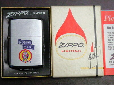 ROMAN MEAL Bread With Matching Knife & Money Clip -Color Graphics 1972 Zippo MIB