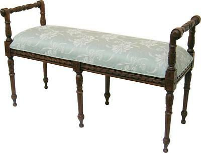 Wide Carved Mahogany & Fabric Bedroom Dressing Table Piano Stool H55 W124 D43cm