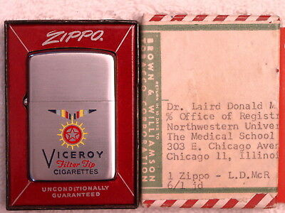 Viceroy Filter Tip Cigarettes  2-sided - Original Zippo Shipping Label 1955 MIB