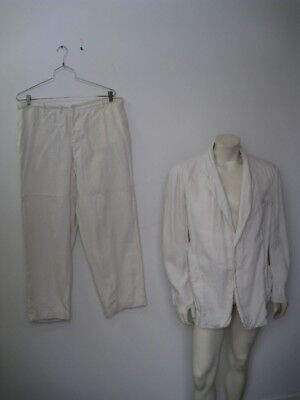 Vintage White Irish Linen 1940s 2-Piece Suit Like Palm Beach Size XL