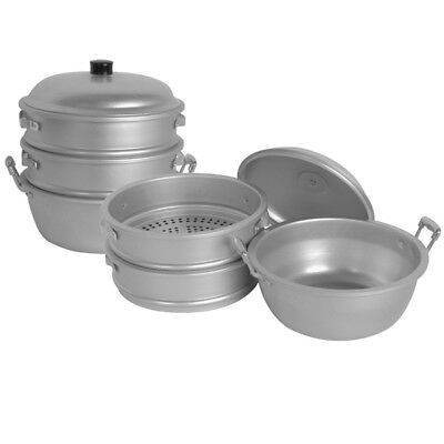 "Thunder Group ALST002 11-3/8"" dia. x 12-1/2""H Aluminum Steamer Basket Set"