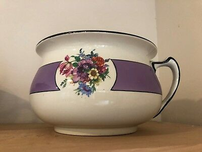 Victorian Style English Chamber Pot purple bouquet of flowers and a black trim