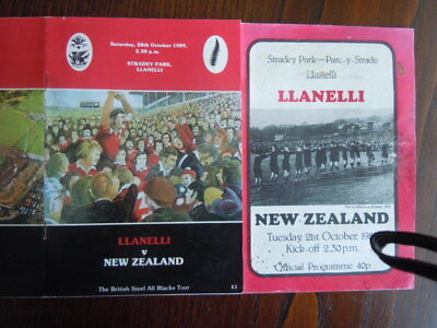 LLANELLI RFC  SCARLETS TWO PROGRAMMES Vs NEW ZEALAND 1980 AND1989
