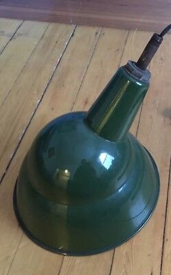 "Vintage Green Benjamin Porcelain Enamel Light Fixture 14"" Industrial Lamp Shade"