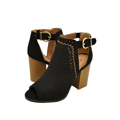 86b961af38d WOMENS SHOES QUPID Brammer 29 Peep Toe Perforated Booties Sea Grey ...