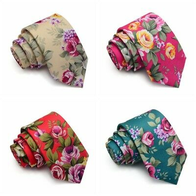 2018 Fashion Men Skinny Slim Floral Flower Rose Neck Tie Cotton Narrow Necktie