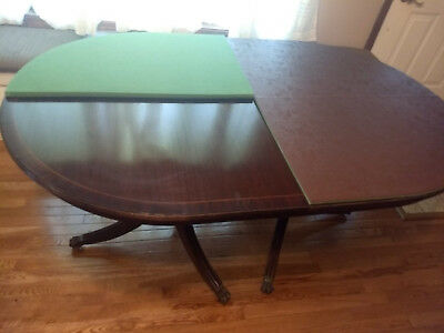 Antique Dining Table Baker 1940's Mahagony Unusual Folding Type