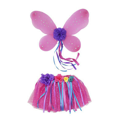 Girls Pink Princess Fairy Costume Butterfly Wing Tutu Set Party Fancy Dress