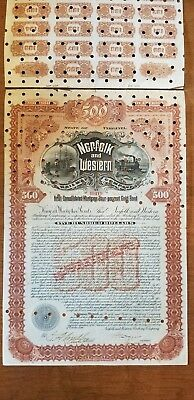 $500 1896 Norfolk & Western Railway Company Bond Stock Certificate Railroad