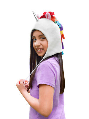 Unicorn Hat for Girls - White with Rainbow Colored Mane and Silver Horn