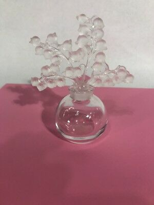 Lalique French Crystal Clairefontaine Lily of the Valley Perfume Bottle Signed