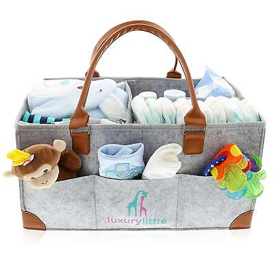 Baby Diaper Caddy Organizer - Extra Large Storage Nursery Bin for Diapers Wipes