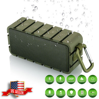 Akixno Portable Waterproof Wireless Bluetooth Speaker Stereo Dual-Driver Aux TF