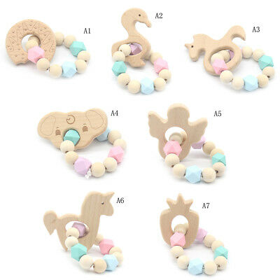 Baby Wooden Teether Animal Shape Chew Beads Teething Toy Baby Nursing Bracelets