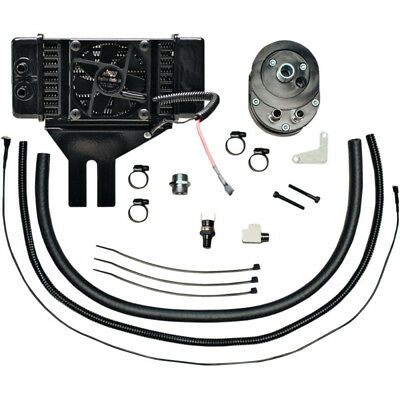 Jagg Low Mount Fan Assisted 10 Row Oil Cooler Kit For Harley Dynas 1991-2017