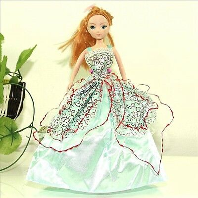 Handmade Party LBlue Dress Fashion Clothes For Barbie Doll Outfit Gown Wedding