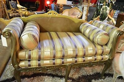 Vintage Silk Settee With Pillows