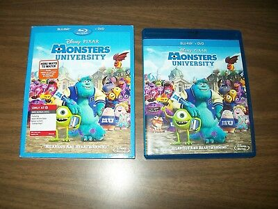 Monsters University Bluray & Dvd 4 Disc Set & Inserts With Slipcover