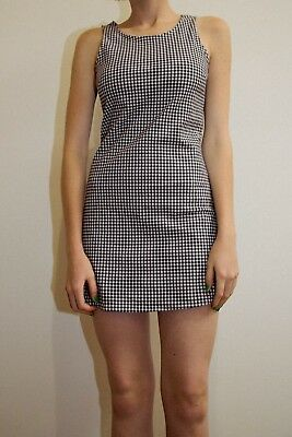 brandy melville blue/white gingham fitted high neck Cassie tank dress NWT sz S