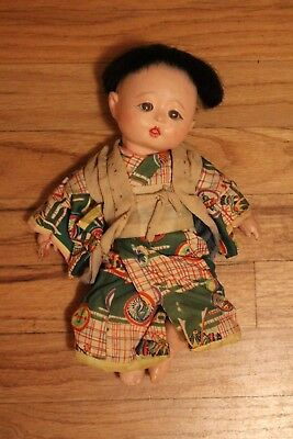 """ANTIQUE COMPOSITION Asian Boy DOLL about 11"""" with damage still cool"""