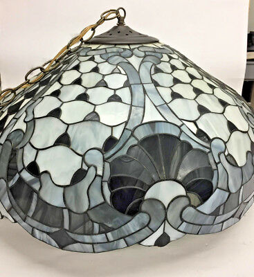 Large Vintage TIffany Style Stained Glass Shade, w/Chandelier Fixture