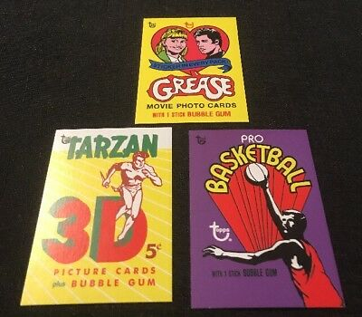 Topps 80th Anniversary Wrapper Art Set #15 Grease,Tarzan and Basketball 43,44,45