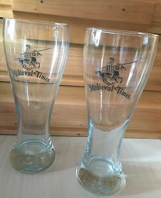 Set of 2 Medival Times Beer Glasses Collectible Advertising Knight Jousting EUC