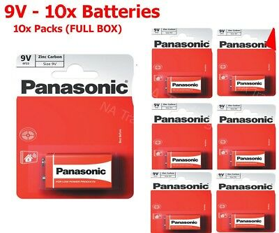 10x 9V Panasonic Heavy Duty Genuine Zinc Carbon 6F22 Block Batteries