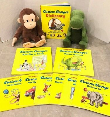 Lot of 9 Curious George Picture Books & Plush Brown Monkey & Green Dinosaur