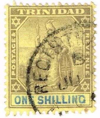 1904 TRINIDAD USED 1sh SCOTT 99 STAMP ON YELLOW PAPER LH