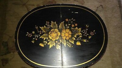 Vintage L HITCHCOCK Black Stenciled Small Folding Oval Accent Table