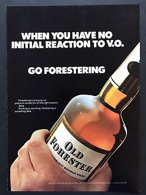 1973 Vintage Print Ad 70's Style OLD FORESTER bourbon Whiskey Bottle Image