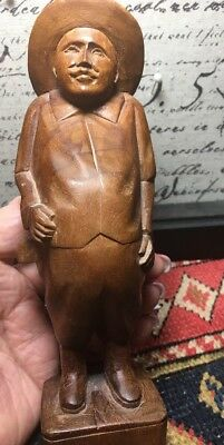 Hand Carved Wooden Figurine of RICH Man; Vintage Unsigned THE LAND-OWNER; GERMAN