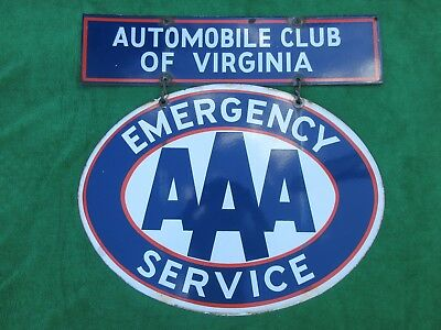 Rare Vintage Automobile Club of Virginia AAA Emergency Service Porcelain Sign