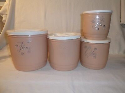 Vintage Set Of 4 Kitchen Canisters Beige & White