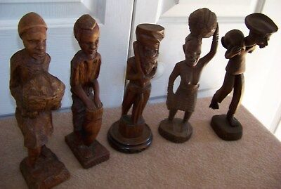 collection of 5 pcs. AFRICAN FOLK ART wood carvings