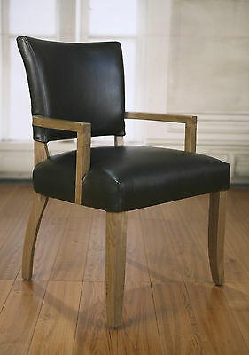 Dining Chair Carver Oak Antiqued Leather French Provincial Upholstered Button