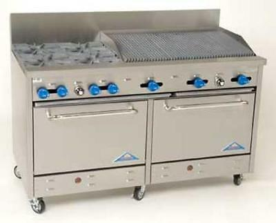 "Comstock Castle 60"" Commercial 4 Burner Gas Range w/ 36"" Broiler & 2 Ovens"